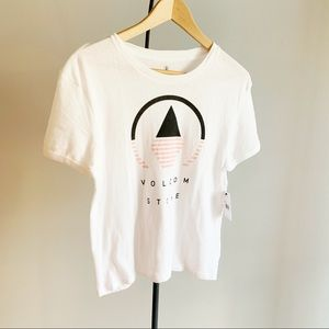 Volcom White Graphic Geometric T-Shirt NWT Small